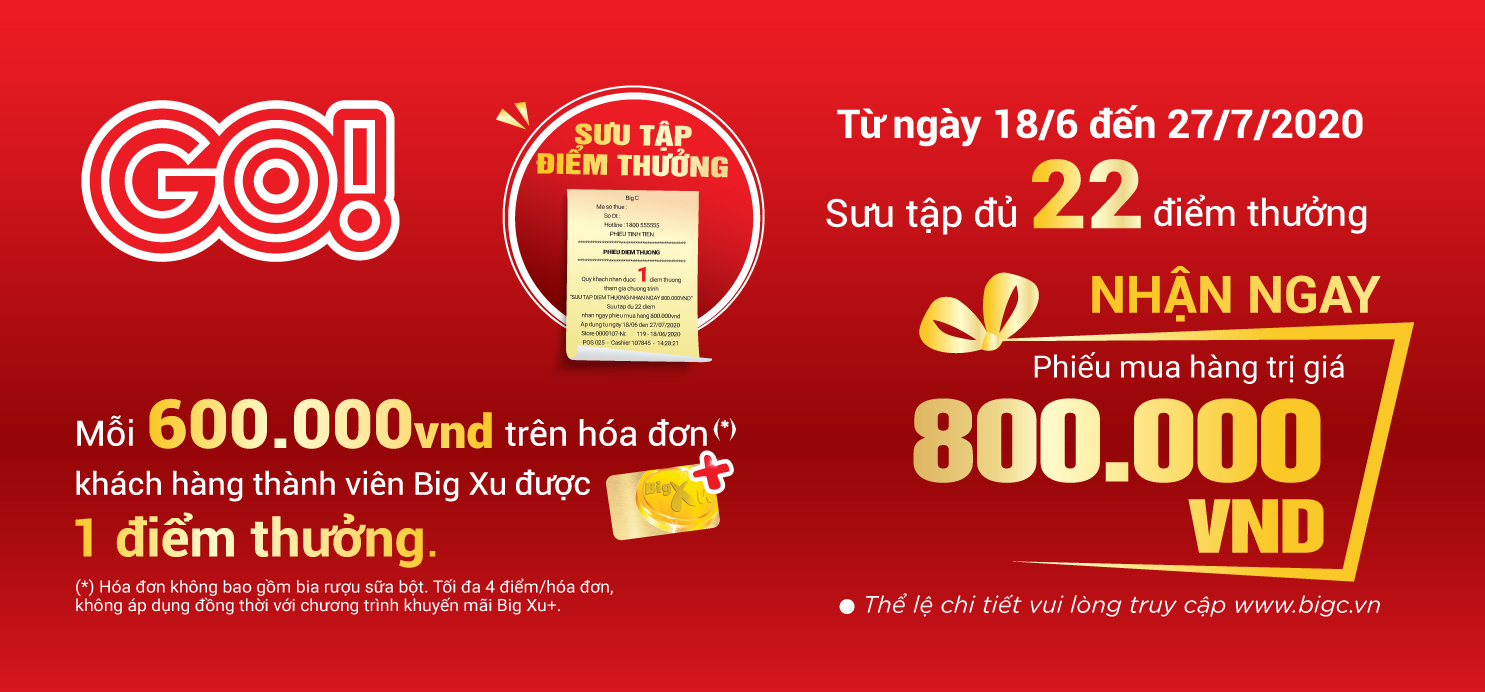 Collect reward points to get 800.000 VND from GO!