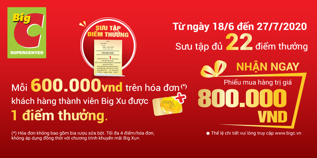 Collect reward points to get 800.000 VND from Big C